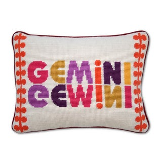 Gemini Needlepoint Zodiac Pillow