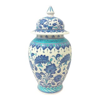 Turkish Hand Painted Blue and White Ginger Jar