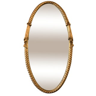 Gilded Oval Mirror with Tassel Detail