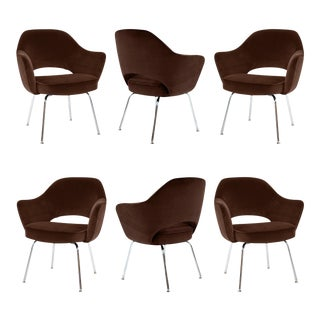 Saarinen for Knoll Executive Arm Chairs in Espresso Brown Velvet - Set of 6