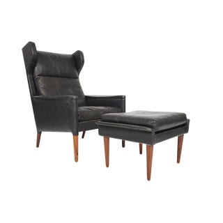 Kurt Østervig Wingback Leather Lounge Chair & Ottoman - A Pair