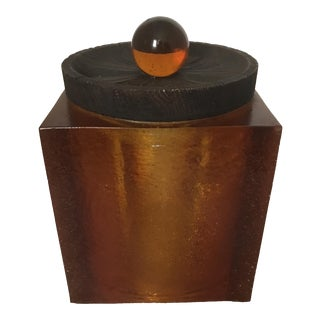 1970's Orange Resin Cube & Wood Ice Bucket
