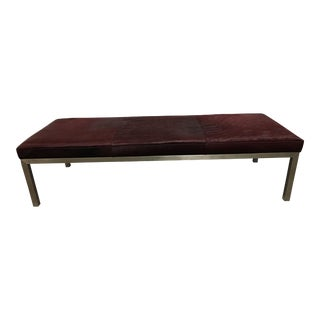 Parsons Style Cowhide Upholstered Stainless Steel Bench