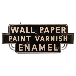 Paint, Varnish, Enamel and Wallpaper Antique Neon Sign Can