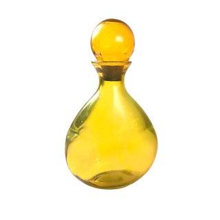 Vintage Mid Century Handblown Yellow/Amber Decanter