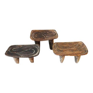 Low Milk Senufo Stools w/ Serpents - Set of 3