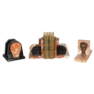 Marble Bookends - A Pair