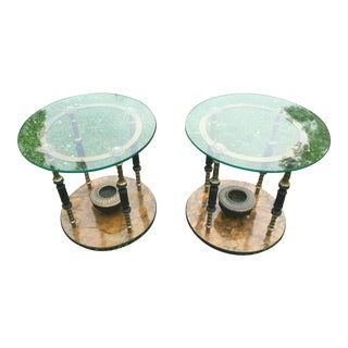 Wood and Antique Brass Hookah Tables - Pair
