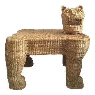 Mid-Century Mario Lopez Torres Wicker Panther Bench