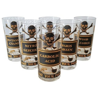 """Set of Eight Vintage 22-carat Gold """"Name Your Poison"""" Highball Glasses"""