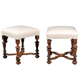 Pair of English Upholstered Walnut Stools with Carved Stretcher