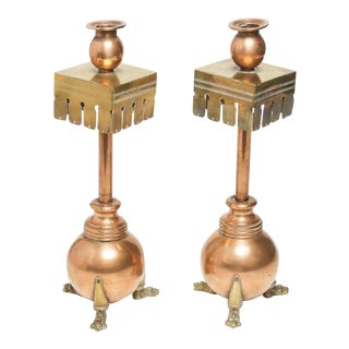 Aesthetic Movement Mixed Metal Candlesticks - a Pair