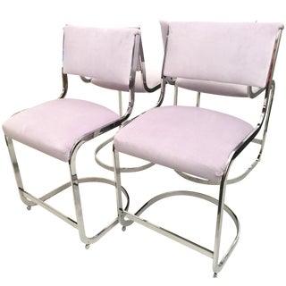 Lavender Milo Baughman Style Stools - Set of 4