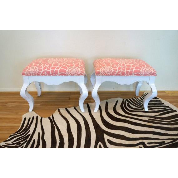 Vintage Coral & White Nautilus Benches - A Pair - Image 4 of 6