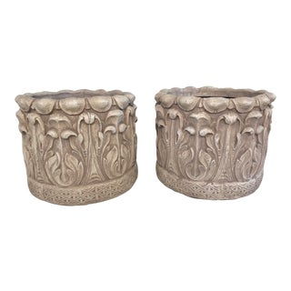 Pair Cast Concrete Acanthus Leaf Arts and Crafts Planters William Morris Style