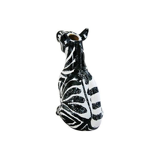 Vintage Hand Painted Italian Ceramic Zebra Pitcher - Image 2 of 7