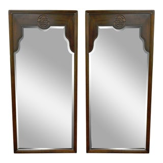 Vintage Drexel Oriental Asian James Mont Ming Style Wall Mirrors - A Pair
