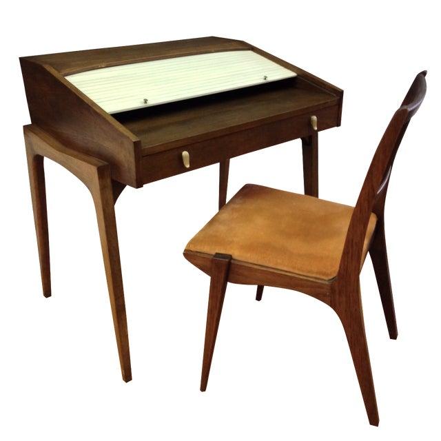 Drexel John Van Koert Roll Top Desk & Chair - Image 1 of 9