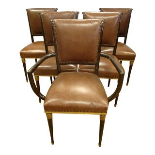 Art Deco Leather Dining Chairs - Set of 5