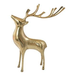 Modern Large Brass Deer Figurine