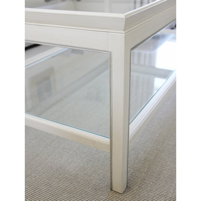 Country Swedish Painted Wood & Glass Coffee Table - Image 6 of 8