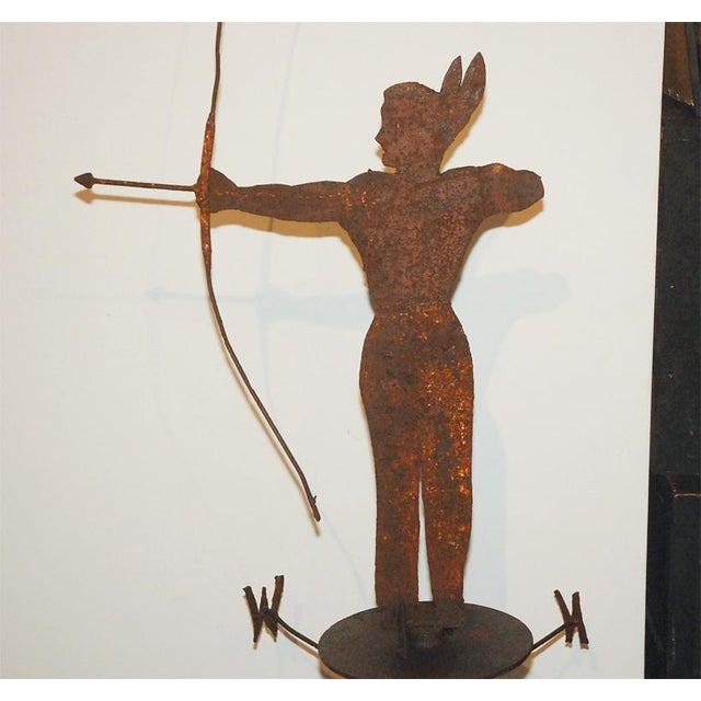 Rare 19th Century Original Painted Iron Indian Weathervane with Stand - Image 3 of 8