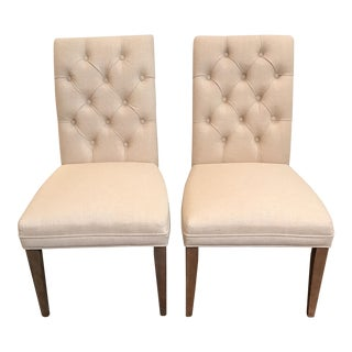 Pair of Tufted Armless Linen Dining Chairs