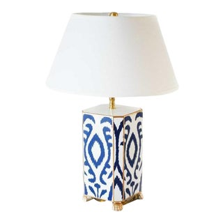Navy & White Ikat Tole Table Lamp