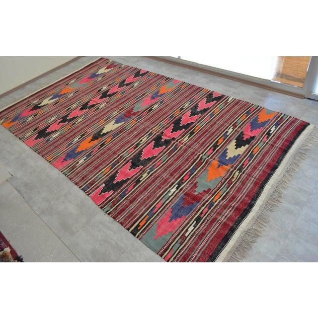 Colorful Antique Turkish Kilim Rug - 7′10″ × 13′10″