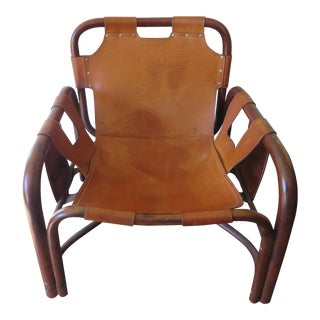 Italian Vera Pelle Leather & Bamboo Safari Chair