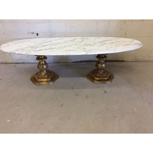 Fuggiti Studios Italian Carrara Marble & Gold Gilt Coffee Table - Image 10 of 11