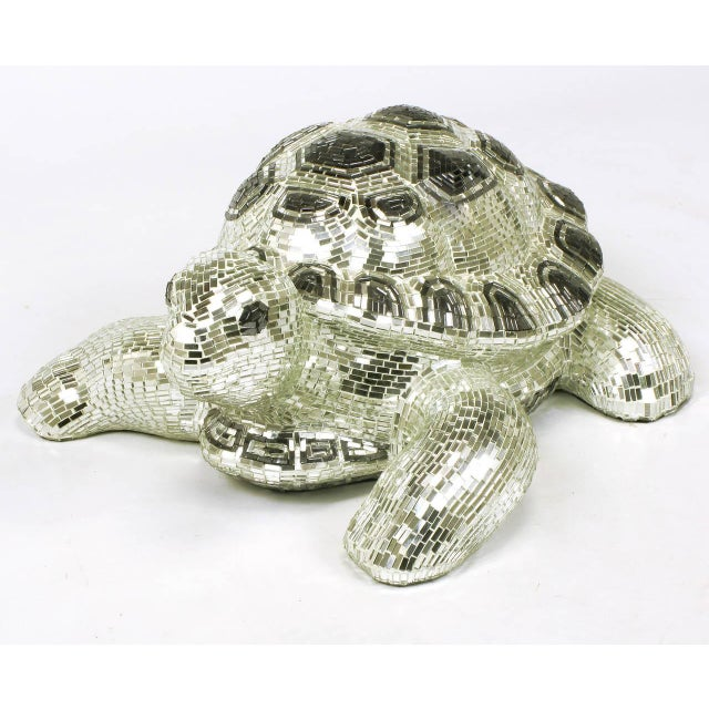 Lifesize Tortoise Sculpture Clad in Tessellated Mirror - Image 2 of 10