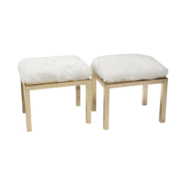 1970's Brass Faux Fur Upholstery Benches - A Pair - Image 1 of 8