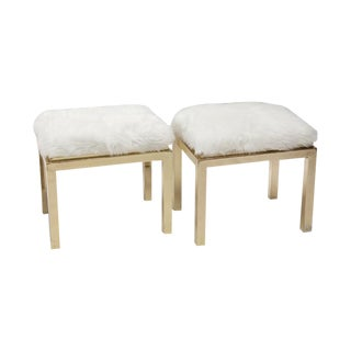 1970's Brass Faux Fur Upholstery Benches - A Pair