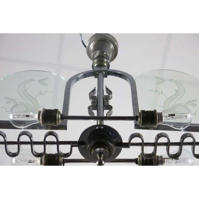 Italian Etched Glass Deco Chandelier - Image 4 of 9