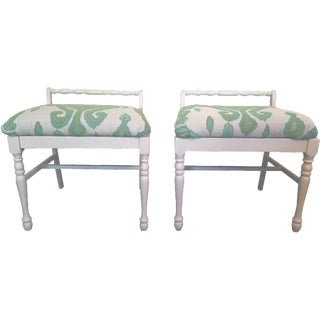 Ikat Upholstered Bench Ottomans - A Pair