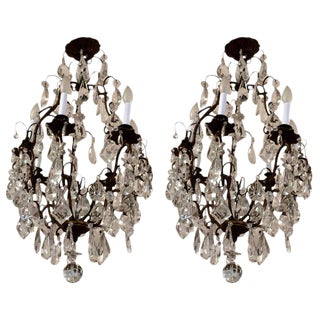 French Gilt Metal & Cut Glass Chandeliers - A Pair