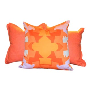 Orange Geometric & Solid Pillows Covers- Set of 3