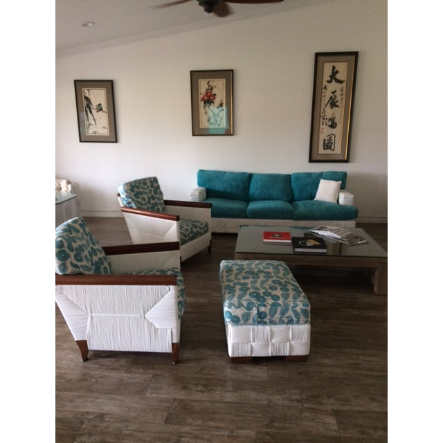 Donghia Block Island 2 Armchairs and Ottoman W/New Goose Down Pillows - Image 5 of 8