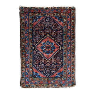 "Distressed Vintage Persian Hamadan Rug - 3'4"" x 4'10"""
