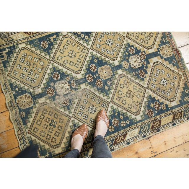 """Vintage Fragmented Caucasian Square Rug - 3'9"""" x 4'8"""" - Image 2 of 7"""