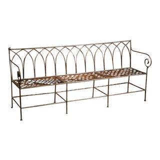 French Empire Style Polished Iron Three-Seat Bench