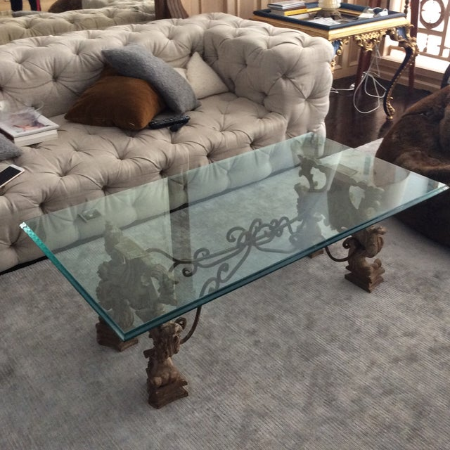 Image of Glass and Carved Wood Coffee Table