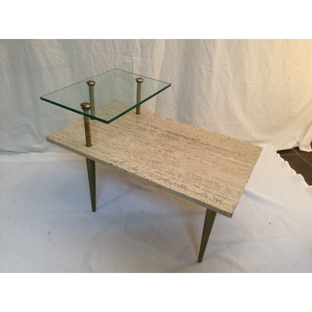 1950's Two Tear Travertine Side Tables - Pair - Image 6 of 11