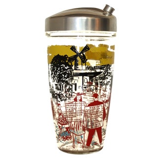 Mid-Century Martini Shaker With French Scenes