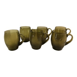 Green Mexican Blown Glass Handled Mugs - Set of 6