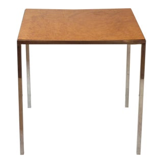 John Stuart Steel & Burled Maple Side Table