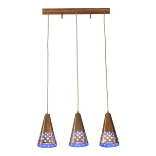 Set of Three 1960s Copper Pendants with Blue Glass Inside