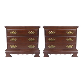 Chippendale Style Mahogany Nightstands - A Pair