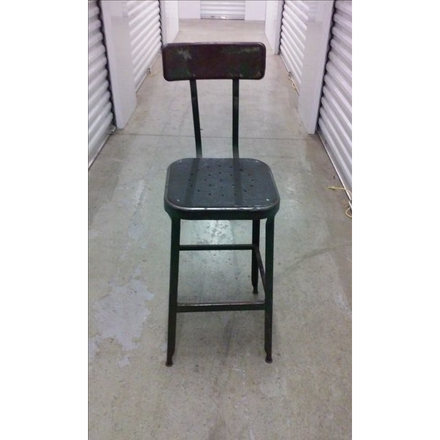 Antique Industrial Black Metal Stool - Image 2 of 5